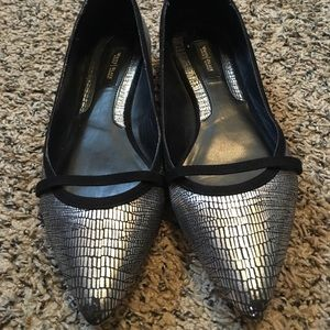 WHBM Silver Metallic Flats Pointy Toe Leather Outs